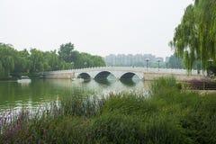 Ásia China, Pequim, ponte da pedra do furo de ŒThree do ¼ do ï do parque de Taoranting Fotos de Stock