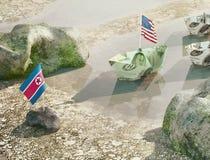 Sia in conflitto fra U.S.A. e la Corea del Nord - illustrazione di concetto di Fotografia Stock Libera da Diritti