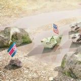 Sia in conflitto fra U.S.A. e la Corea del Nord - illustrazione di concetto di Immagini Stock