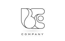 SIA contorno del profilo di Logo With Thin Black Monogram della lettera del monogramma Immagine Stock Libera da Diritti