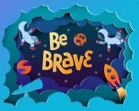 Sia coraggioso Cartolina d'auguri di stile del fumetto con gli astronauti, pianeti, royalty illustrazione gratis