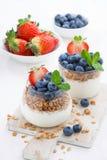 Sia a dieta il dessert con yogurt, i muesli e le bacche fresche, verticali Fotografia Stock Libera da Diritti