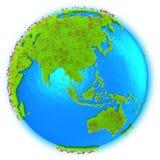Ásia e Austrália na terra do planeta Fotos de Stock Royalty Free