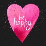 Sia felice Cartolina fatta a mano dell'acquerello con cuore Fotografie Stock Libere da Diritti
