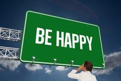Sia felice contro il cielo Fotografie Stock