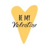 Sia il mio elemento di progettazione di Valentine Hand Drawing Vector Lettering Fotografie Stock