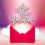 Sia il mio messaggio scritto a mano di amore del biglietto di S. Valentino, la carta romantica, vettore Fotografia Stock