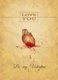 Sia il mio Valentine Card con lo schizzo dell'anatomia Vector l'illustrazione, EPS10 Immagine Stock Libera da Diritti
