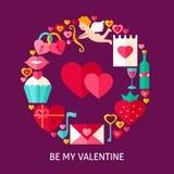 Sia il mio Valentine Flat Concept Fotografie Stock