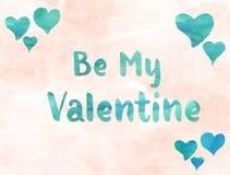 Sia il mio Valentine Watercolor Fotografie Stock Libere da Diritti