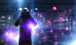 Sia informato dell'attacco del pirata informatico Media misti Media misti Immagine Stock