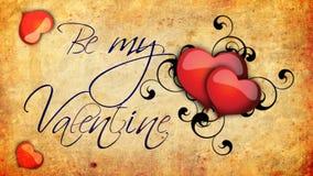 Sia la mia animazione del biglietto di S. Valentino con i cuori e le viti di battitura su vecchio fondo di carta royalty illustrazione gratis