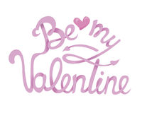 Sia la mia progettazione di Valentine Hand Drawing Lettering Tipografia di vettore Fotografia Stock Libera da Diritti