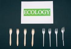 Sia liberamente di plastica Spreco zero Carta con ecologia di parola vicino alle forcelle naturali e monouso ecologiche nella fil fotografia stock
