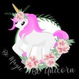 Sia magico è unicorno con l'illustrazione dell'acquerello illustrazione di stock