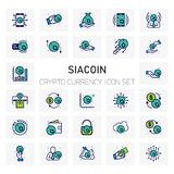 SIACoin Crypto Currency icons set. For web design and application interface, also useful for infographics. Vector illustration Stock Photo
