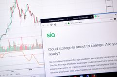 Siacoin home page. MONTREAL, CANADA - JUNE 20, 2018: Siacoin crypto currency home page. Cryptocurrency is a digital currency in which encryption techniques are royalty free stock images
