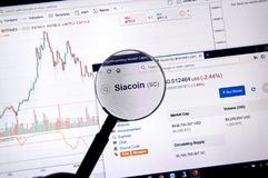 Siacoin price under magnifying glass. MONTREAL, CANADA - JUNE 20, 2018: Siacoin crypto currency price under magnifying glass. Cryptocurrency is a digital stock image