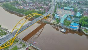 Siak桥梁III在北干巴鲁市,廖内-印度尼西亚 库存图片