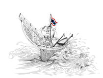 Siam Gumphant Thai Giant on Kolek South of Thailand Boat Cartoon. Siam Gumphant Thai Giant on Kolek (a Malayan canoe often rigged with a rectangular sail) South Stock Image