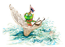 Siam Gumphant Thai Giant on Kolek South of Thailand Boat Cartoon. Siam Gumphant Thai Giant on Kolek (a Malayan canoe often rigged with a rectangular sail) South Royalty Free Stock Image