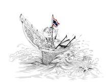 Siam Gumphant Thai Giant on Kolek South of Thailand Boat Cartoon Stock Image