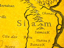 Siam map. Siam geography map old name of Thailand Stock Photography