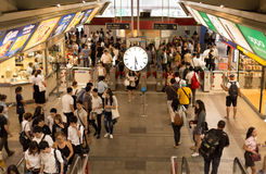 At Siam train station with busy people in moving motion Royalty Free Stock Photography