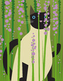 Siamese Cat. A Siamese cat sites amongst the flowers Stock Photography