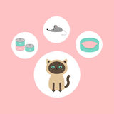 Siamese cat round circle icon set in shape of paw print. Cat stuff object. Mouse toy, bed, food tin can. Flat design style. Cute c Royalty Free Stock Images