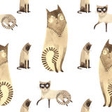 Siamese Cat. Seamless pattern cats. Watercolor illustration Royalty Free Stock Photo