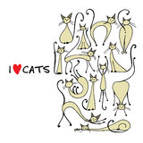 Siamese cats collection, sketch for your design Royalty Free Stock Photo