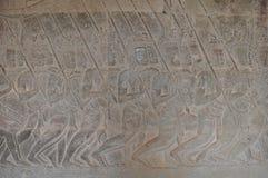 Siamese legosoldater på huvudet av processionen på Angkor Wat Arkivfoton