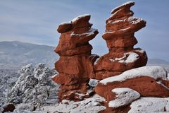 Siamese Twins rock formation in winter Royalty Free Stock Images