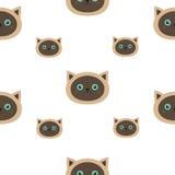 Siamese Vlakke het ontwerpstijl van het katten naadloze patroon Leuk beeldverhaalkarakter Gelukkig katje met blauwe ogen De achte Royalty-vrije Stock Foto