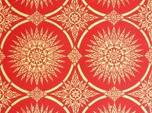 Siamesische Artanstrichkunst auf rotem Hintergrund Stockbilder