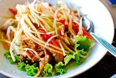 Siamesische Artnahrung, würziger Papayasalat lizenzfreies stockbild