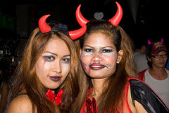 Siamesische Mädchen feiert Halloween am 31. Oktober 2010 Lizenzfreie Stockbilder