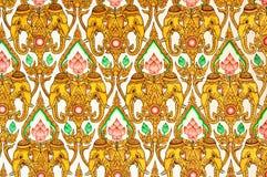 Siamesische Muster-Auslegung auf Wand Lizenzfreie Stockfotografie