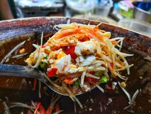 Siamesische Nahrung des grünen Papayasalats lizenzfreies stockfoto