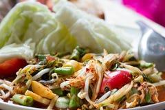 Siamesische Nahrung des Papayasalats stockfoto