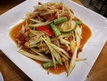 Siamesische Nahrung des Papayasalats Lizenzfreie Stockfotografie
