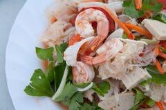 siamesische Nahrung gebratener Garnele-Salat Lizenzfreies Stockfoto