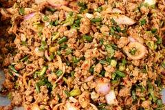 Siamesische Nahrung, larb MOO, Schweinefleisch kochte nordöstliche Str. Stockbild