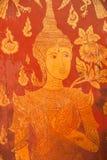 Siamesischer alter Kunstanstrich auf der hölzernen Tür Lizenzfreies Stockbild