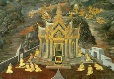 Siamesischer Anstrich der Kunst auf Wand im Tempel Lizenzfreie Stockfotografie