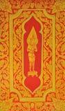 Siamesischer Artkunstanstrich auf Tür des Tempels Stockbilder