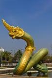 Siamesischer Drache oder König der Nagastatue Stockfoto