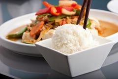 Siamesischer Nahrungsmittel-und Jasmin-Reis stockfotos