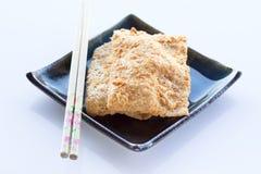 Siamesischer Reiscracker mit Schweinefleischglasschlacke Stockfotografie